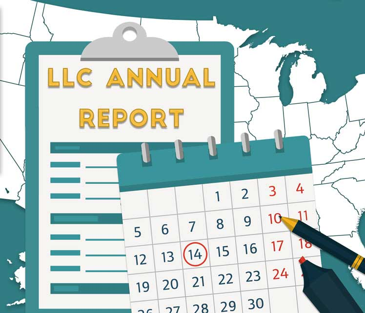 A map of the U.S. with a clipboard on top reading �LLC Annual Report� and a calendar with the 14th circled