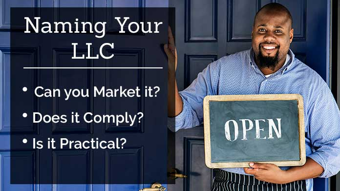 A woman imagining a drawing of a cafe; Naming your LLC: Can you market it? Does it comply? Is it practical?