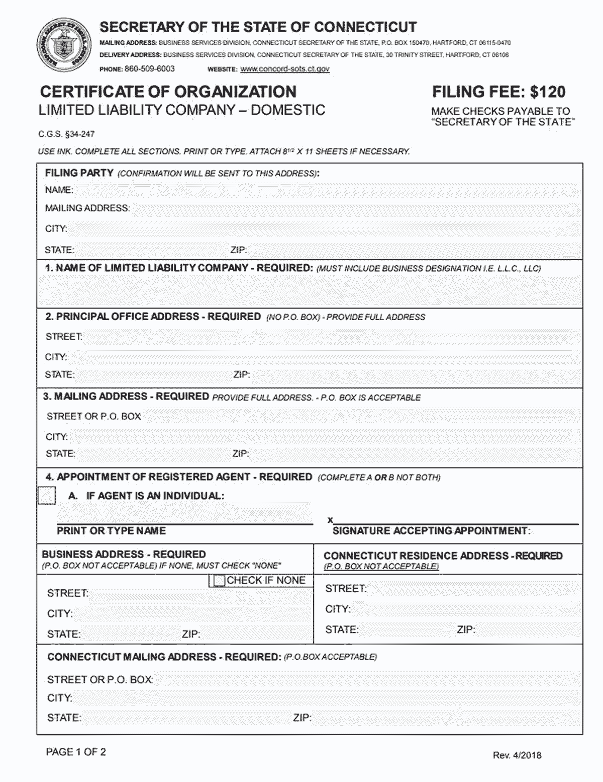 Connecticut LLC Formation Document