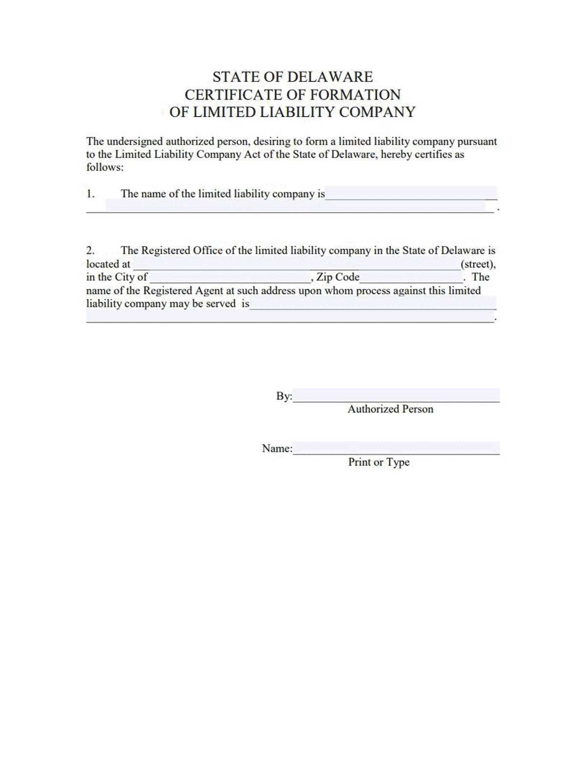 Delaware LLC Formation Document