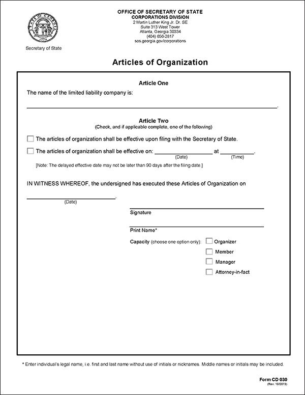 Georgia LLC Formation Document