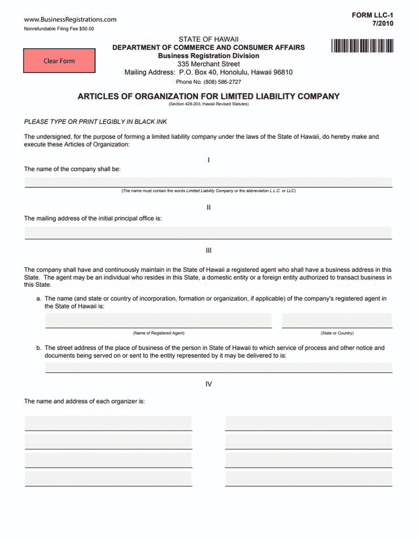 Hawaii LLC Formation Document