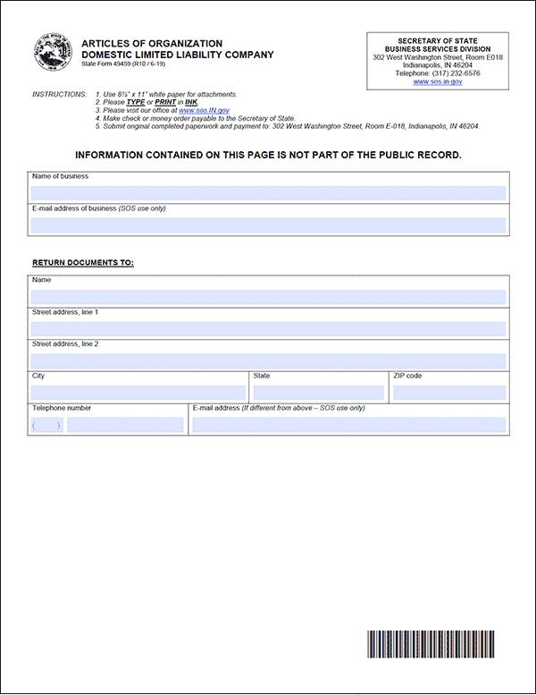 Indiana LLC Formation Document