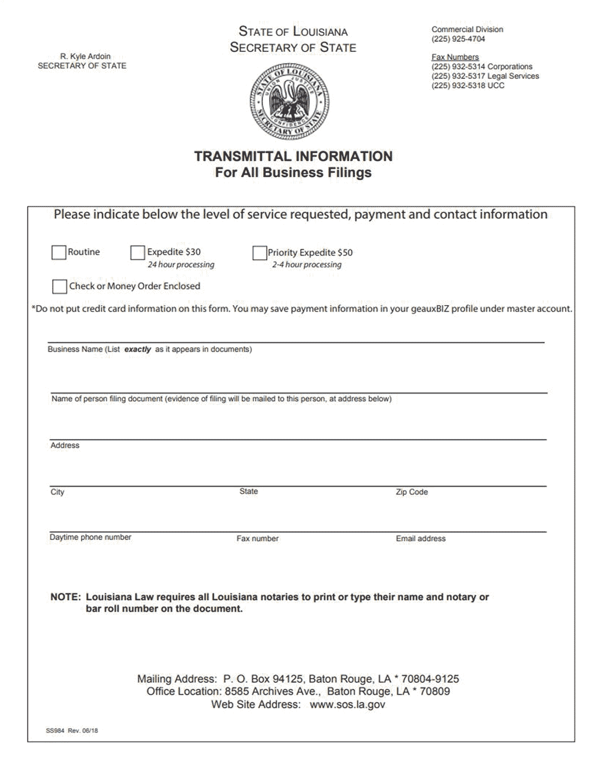 Louisiana LLC Formation Document