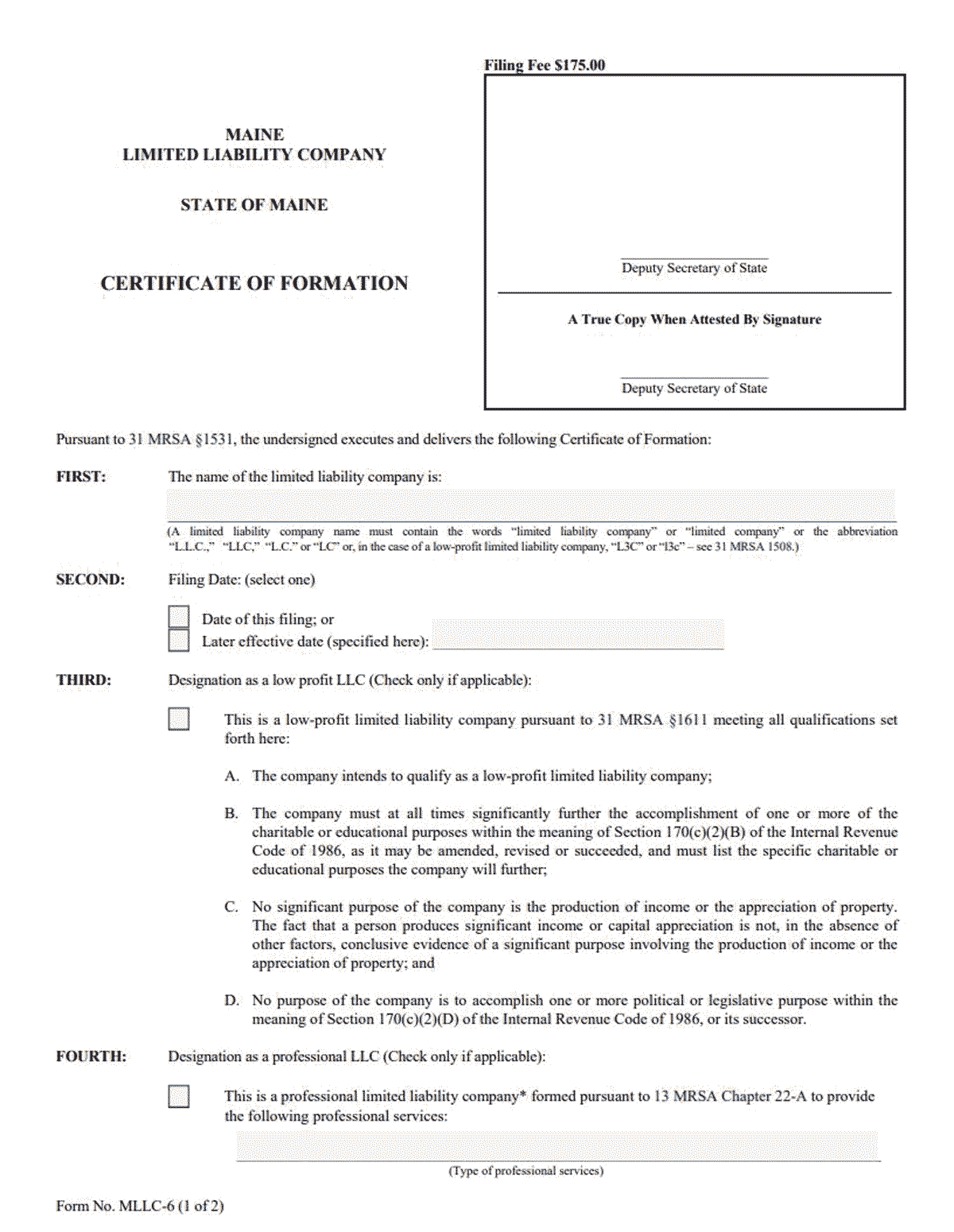 Maine LLC Formation Document