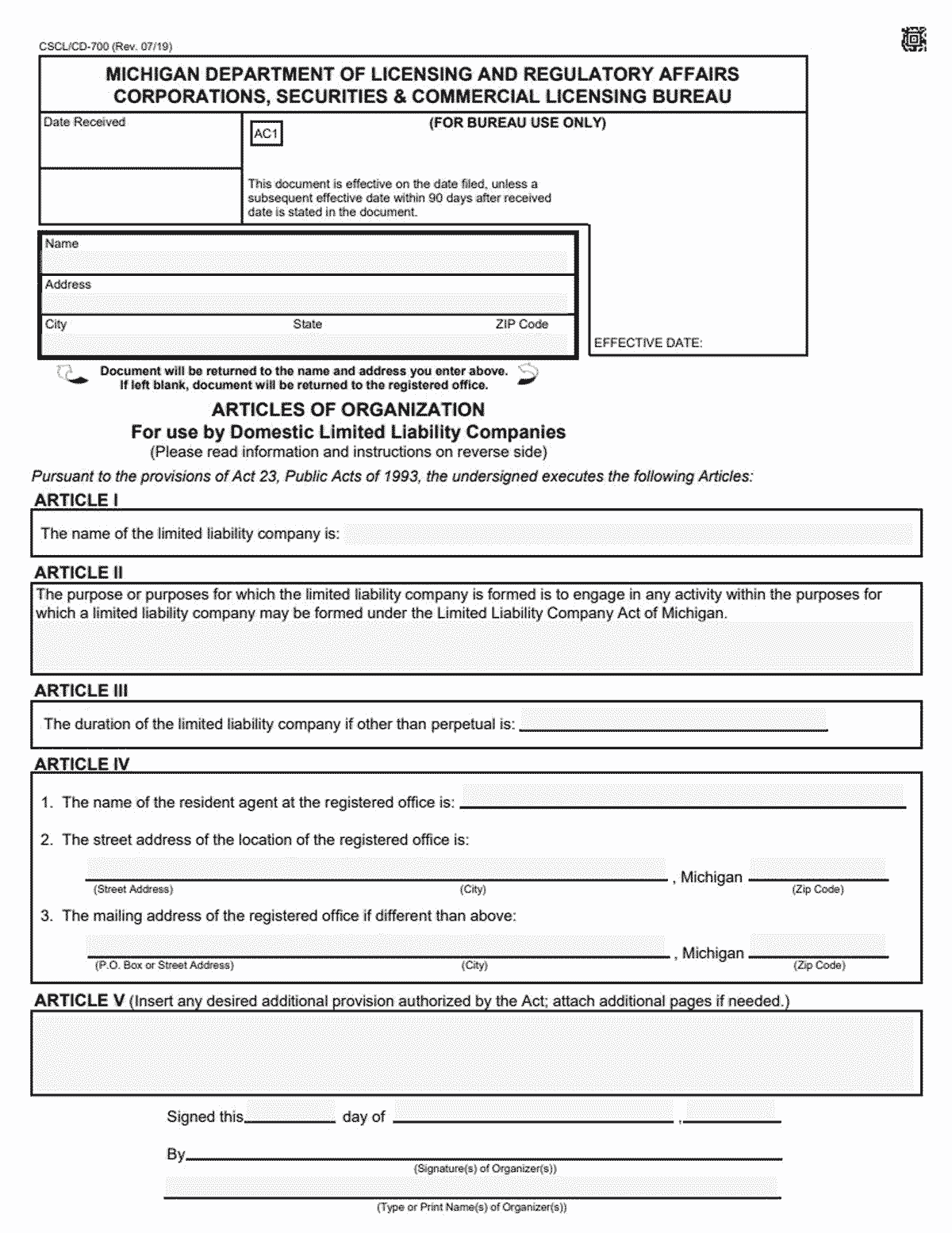 Michigan LLC Formation Document