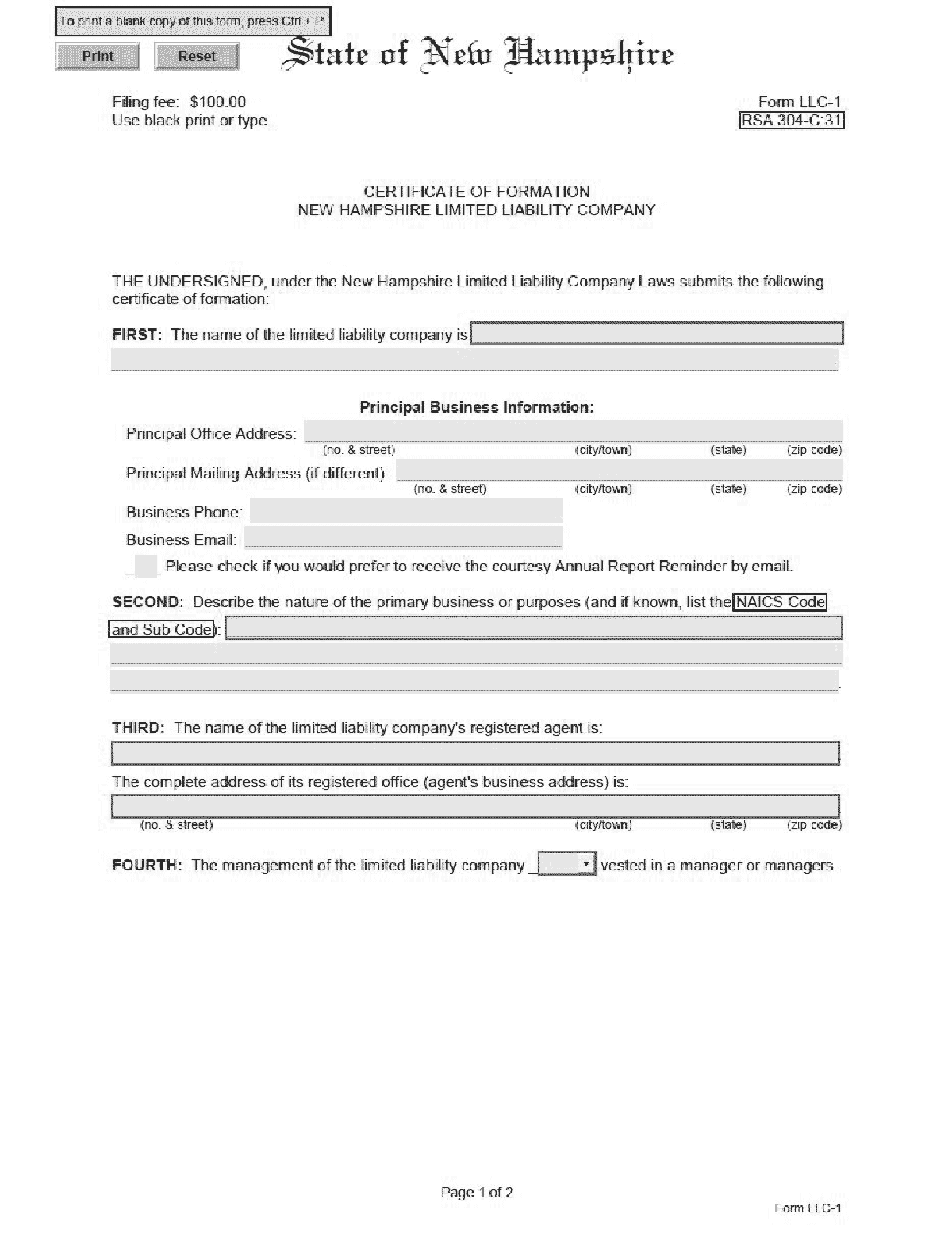 New Hampshire LLC Formation Document