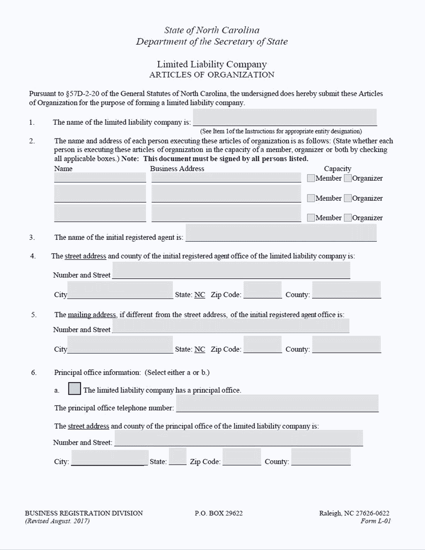 North Carolina LLC Formation Document