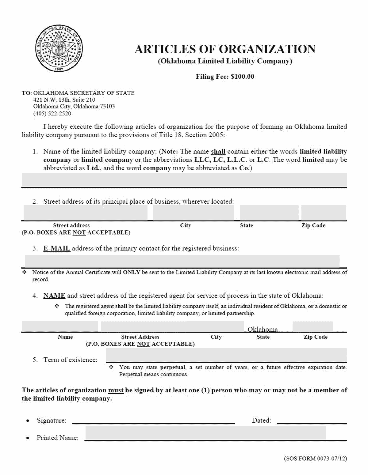 Oklahoma LLC Formation Document
