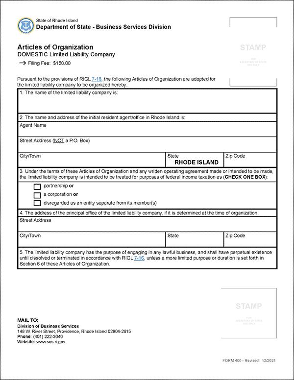 Rhode Island LLC Formation Document