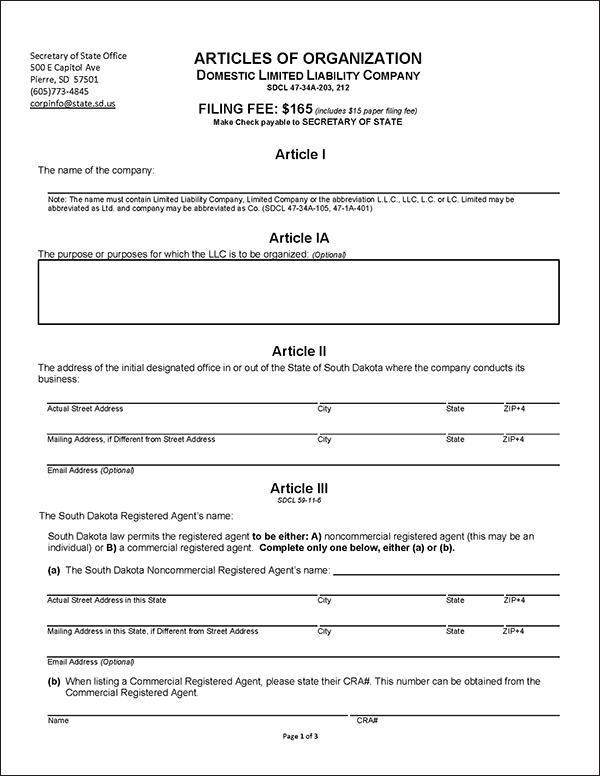 South Dakota LLC Formation Document