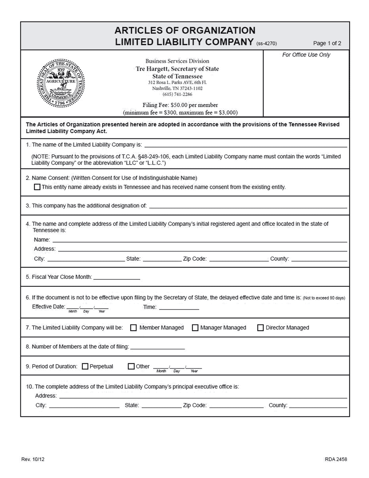 Tennessee LLC Formation Document