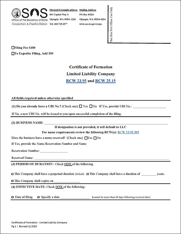 Washington LLC Formation Document