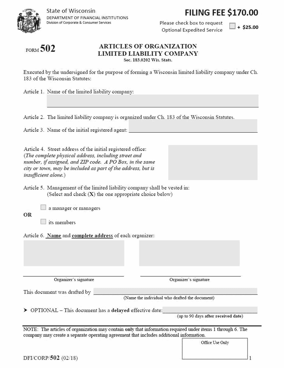 Wisconsin LLC Formation Document