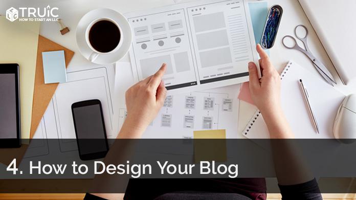 Woman designing her blog.