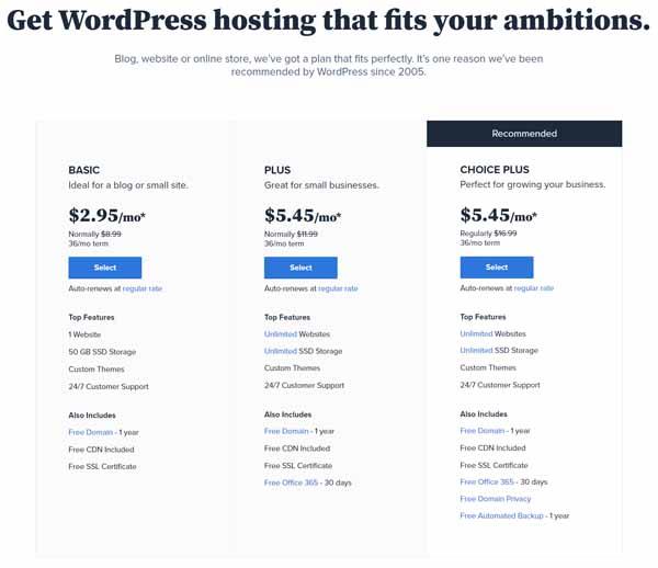 Screenshot of WordPress pricing and plans.