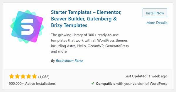 WordPress Starter Templates - Elementor, Beaver Builder, Gutenberg, & Brizy Templates plugin.