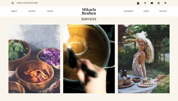 Examples of websites built using Wix.