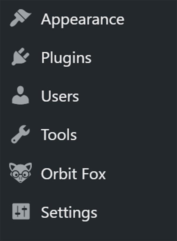 WordPress OrbitFox in dashboard panel.