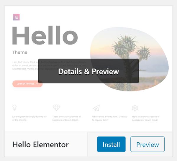 WordPress Hello Elementor theme Details & Preview.