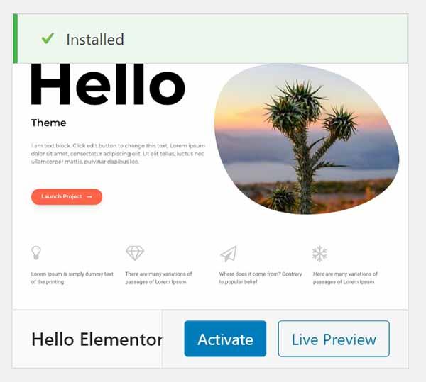 WordPress Hello Elementor theme installed.
