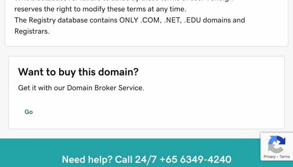 GoDaddy Domain Search.