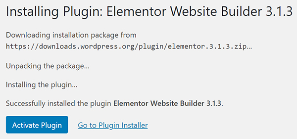 WordPress Elementor Website Builder plugin install.