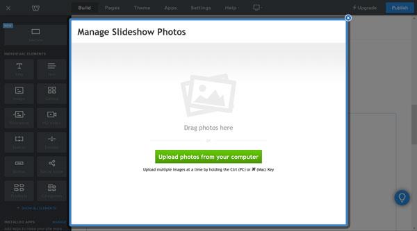 Weebly website builder, upload slideshow photos