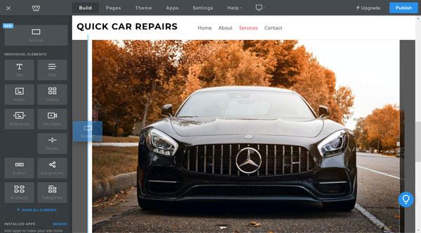Weebly website builder, resize image spacer block