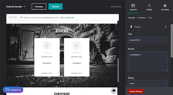 Reviews menu on GoDaddy.