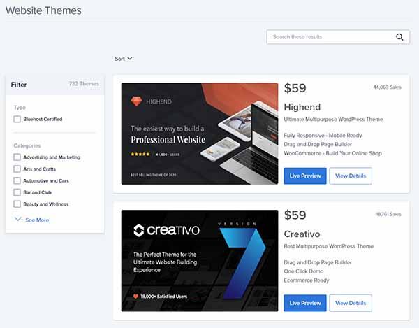 WordPress website themes.