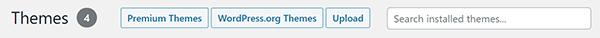 WordPress themes library search bar.
