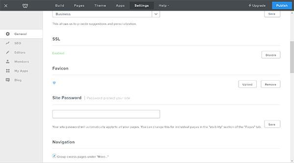 Weebly website builder, website settings