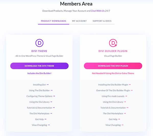 WordPress Members Area product downloads.