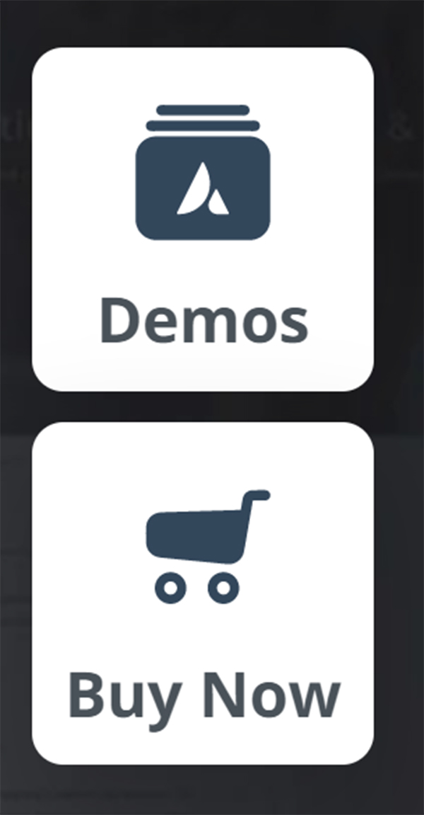 WordPress demos and buy now buttons.