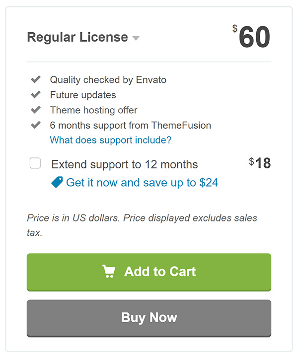 WordPress regular license check out.
