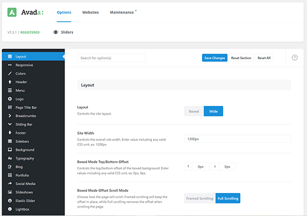 WordPress Avada builder options.