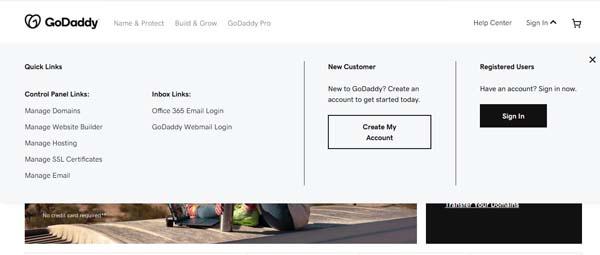 GoDaddy e-mail example.