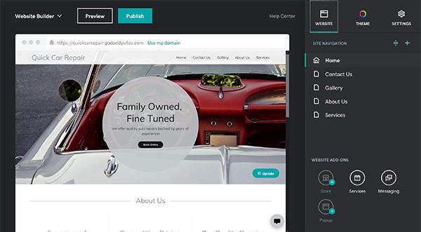 Website dashboard on GoDaddy.