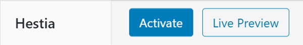WordPress Hestia activate or live preview.