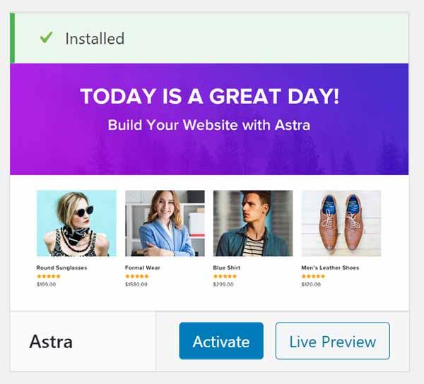 WordPress Astra theme installed.