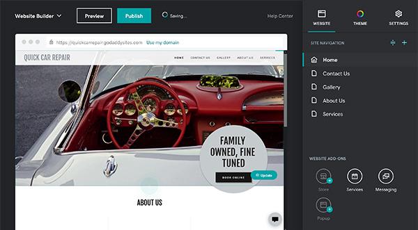 Website navigation on GoDaddy.