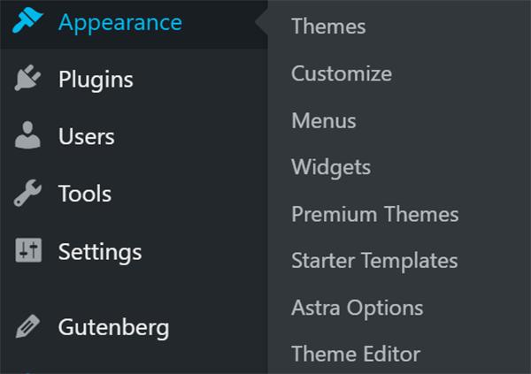 WordPress dashboard Appearance tab.