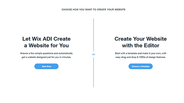 Screenshot of Wix's choose how you want to create your website call to action