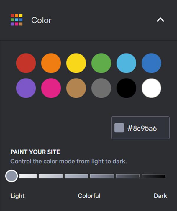 Screenshot of GoDaddy Web Builder Color Picker
