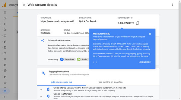 Google Analytics web stream details page.