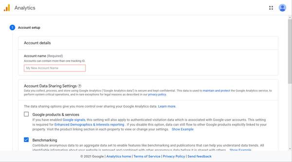 Google Analytics account setup screen.