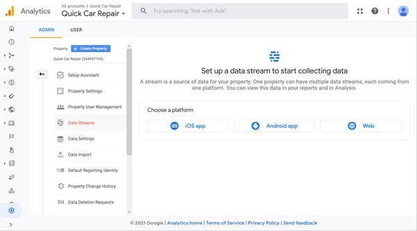 Google Analytics data stream screen.