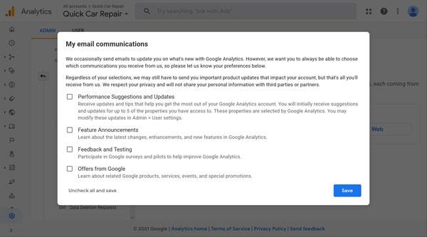 Google Analytics email communications screen.