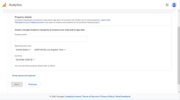Google Analytics property details screen.